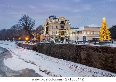 Uzhgorod, Ukraine - Dec 26, 2016: Christmas Tree In Old Town At Dawn. Beautiful Architecture On The