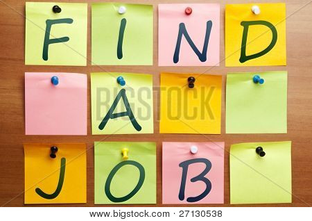Find  a job made by many post it