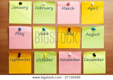 Calendar made by post it with copy space poster
