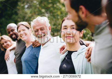 Happy diverse people together in the park