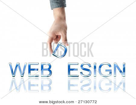 Webdesign word made by male hand