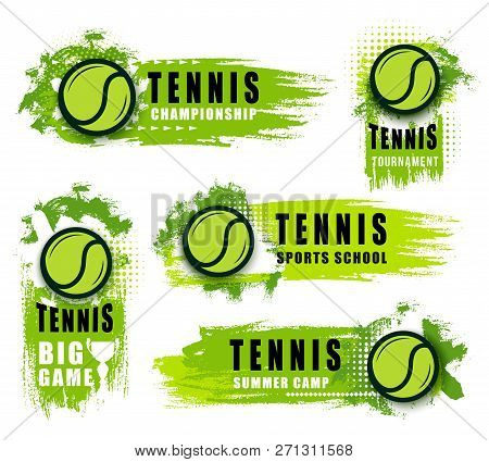 Tennis Sport Club Or Championship Game Vector Icons. Vector Isolated Labels And Badges Of Flying Gre