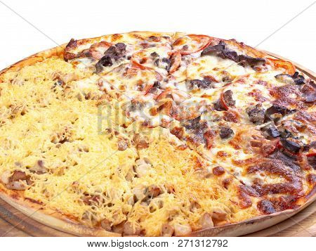 Double Topping Pizza For Couples On The Wooden Desk Isolated Close Up. Cheese And Chicken Vs Beef An