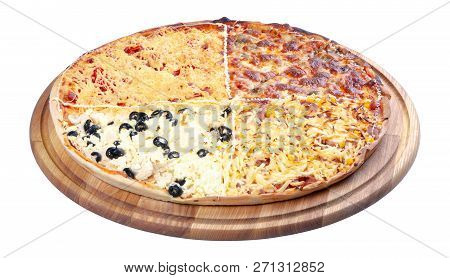 Quadruple Topping Family Pizza On The Wooden Desk Isolated. Three Quarter View. Sausage Vs Pork And