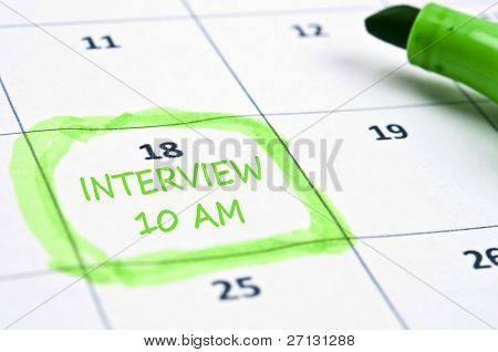 Calendar mark  with Interview