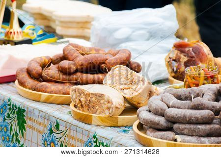 Hecha, Ukraine - Jan 27, 2018: Pork Butchers Competition. Traditional Sausages From Pork On The Tabl