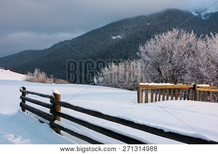Wooden Fence On Snowy Hill In Morning Light. Trees In Glittering Hoarfrost At The Edge Of A Slope. F