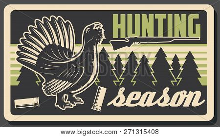 Hunting Sport Open Season, Wild Wood Grouse Or Capercaillie Bird. Vector Vintage Design Of Hunting B