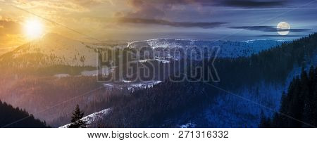 Time Change With Sun And Moon Above Panorama Of Mountain Ridge. Lovely Winter Scenery