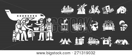 Migrant icon set. Simple set of migrant vector icons for web design on gray background poster