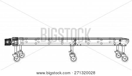 3d Outline Conveyor Belt. Vector Rendering Of 3d. Wire-frame Style. The Layers Of Visible And Invisi