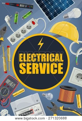 Electrician Service, Electrical Equipment And Tools. Vector Plug And Socket, Helmet And Solar Batter