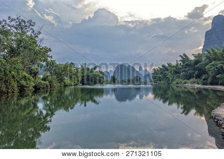The Beautiful Yulong River In Yangshuo County Of Guilin, Guangxi Of China.