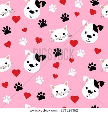 Cartoon Cats And Dogs Seamless Pattern Showing Cute Cat And Dog For Pets Friendship Or Wallpaper Des
