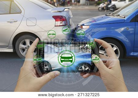 Hand Use Smartphone With Car Claim Icons Over The Network Connection On Car Crash Background, Car Ac