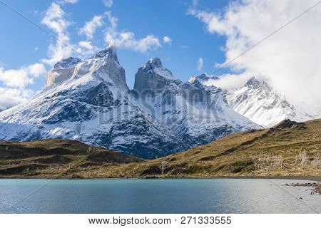 View Of Cuernos Del Paine Mountains In Torres Del Paine National Park In Chile