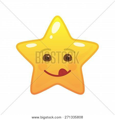 Playful Star Shaped Comic Emoticon. Frisky Face With Facial Expression. Coltish Emoji Symbol For Int