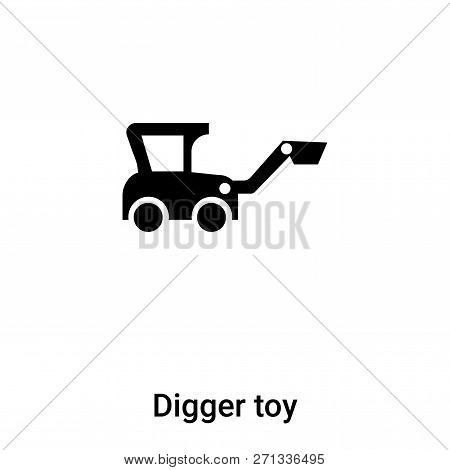 Digger Toy Icon In Trendy Design Style. Digger Toy Icon Isolated On White Background. Digger Toy Vec