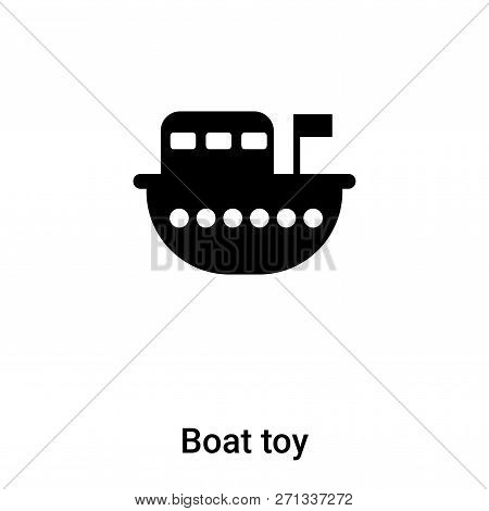 Boat Toy Icon In Trendy Design Style. Boat Toy Icon Isolated On White Background. Boat Toy Vector Ic