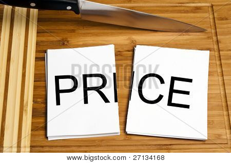 Knife cut paper with  price word