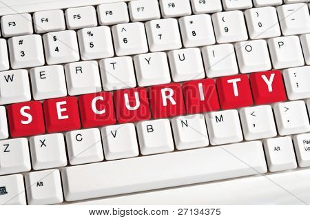 Security word on white keyboard