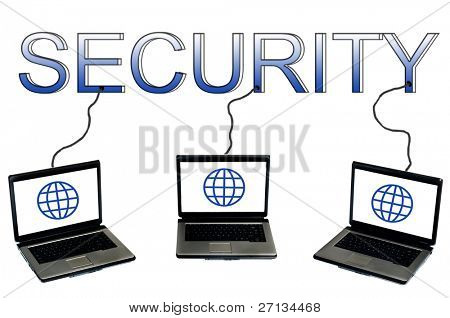 Security word connected to laptops