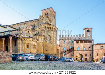 Castell Arquato,italy - September 25,2018 - Palace Podesta And Church Of Saint Mary In Castell Arqua