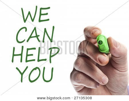 Hand write with green marker We can help you