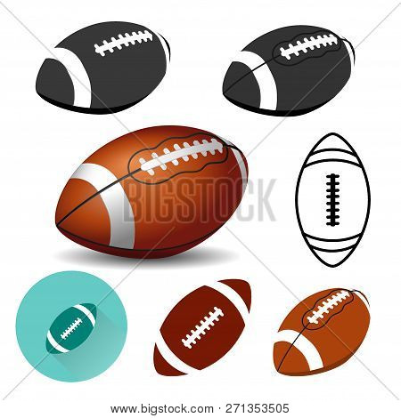 American Football Ball On White Background. Rugby Ball Icons. Vector Illustration