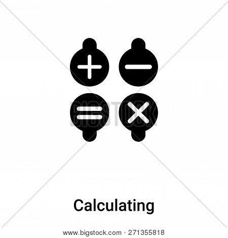 Calculating Symbol Icon In Trendy Design Style. Calculating Symbol Icon Isolated On White Background