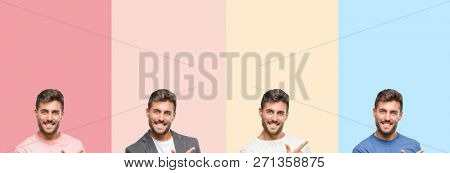 Collage of handsome young man over colorful stripes isolated background cheerful with a smile of face pointing with hand and finger up to the side with happy and natural expression on face