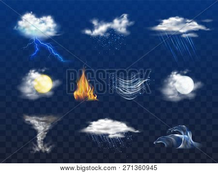 Day, Night Weather Forecast Icon, Natural Disaster 3d Realistic Vector Set Isolated On Transparent B