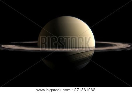 The Planet Of Saturn. Rings Of The Planet Saturn. Computer Graphics.