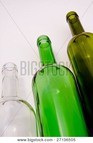a close-up of the  three wine bottles