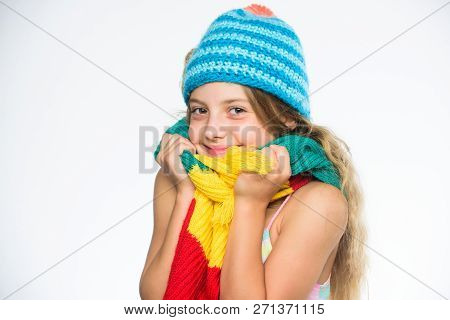 Kid Wear Warm Soft Knitted Blue Hat And Long Scarf. Warm Woolen Accessories. Hat And Scarf Keep Warm