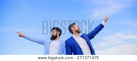 Men Formal Suit Managers Pointing At Opposite Directions. Changing Course. New Business Directions.
