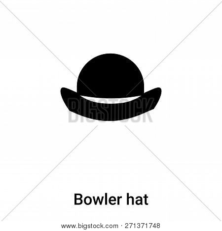 Bowler Hat Icon In Trendy Design Style. Bowler Hat Icon Isolated On White Background. Bowler Hat Vec