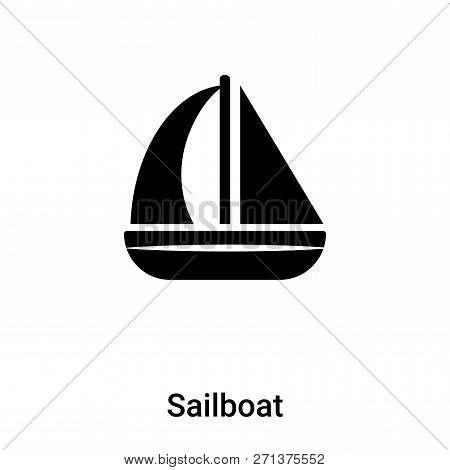Sailboat Icon In Trendy Design Style. Sailboat Icon Isolated On White Background. Sailboat Vector Ic