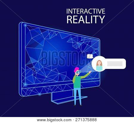 Interactive Reality Computer Monitor With Geometric Shapes And Person Vector. Human Wearing Vr Glass