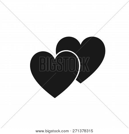 Black Isolated Icon Of Two Hearts On White Background. Silhouette Of Two Hearts. Flat Design. Symbol