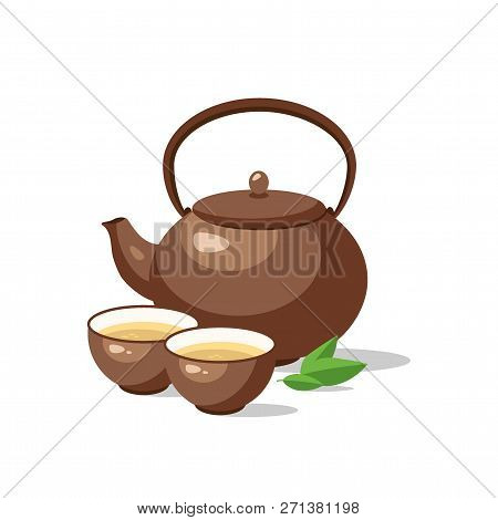 Japanese, Chinese Tea Ceremony Set. Ceramic Teapot And Cup Bowls Of Green Tea Isolated. Vector Illus