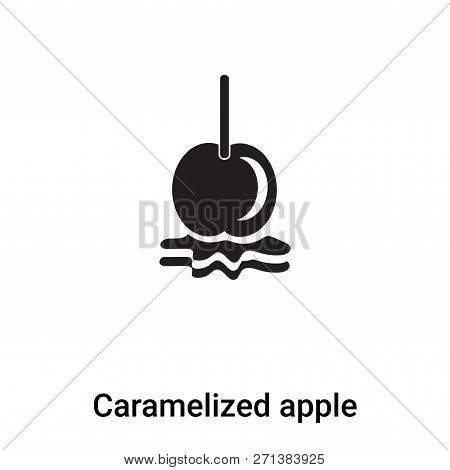 Caramelized Apple Icon In Trendy Design Style. Caramelized Apple Icon Isolated On White Background.