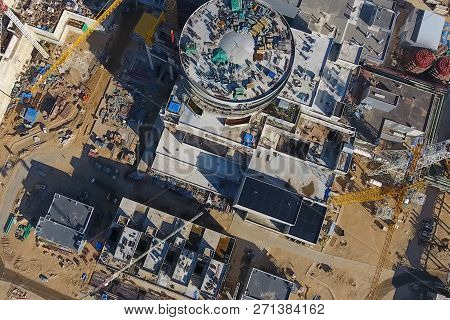 Aerial Survey Of A Nuclear Power Plant Under Construction. Installation And Construction Of A Power