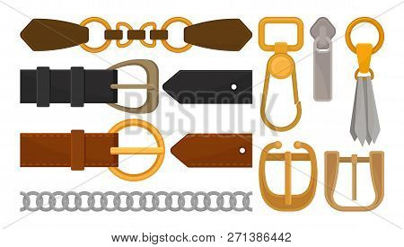 Flat Vector Set Of Belt Elements. Stylish Leather Male And Female Waistbands, Metal And Golden Acces