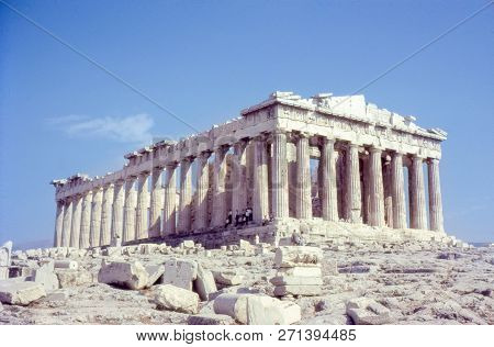 The Parthenon, Ancient Monument Ruins On The Acropolis, In Athens Greece. With Unidentifiable Touris