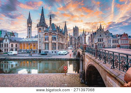 Panoramic View Of The Historic City Center Of Ghent With Leie River Illuminated In Beautiful Twiligh