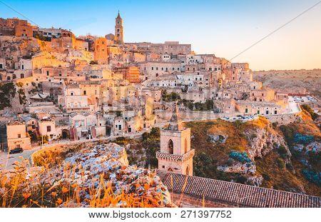 Panoramic View Of The Ancient Town Of Matera (sassi Di Matera) In Beautiful Golden Morning Light At