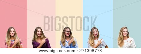 Collage of beautiful young woman over colorful stripes isolated background cheerful with a smile of face pointing with hand and finger up to the side with happy and natural expression on face