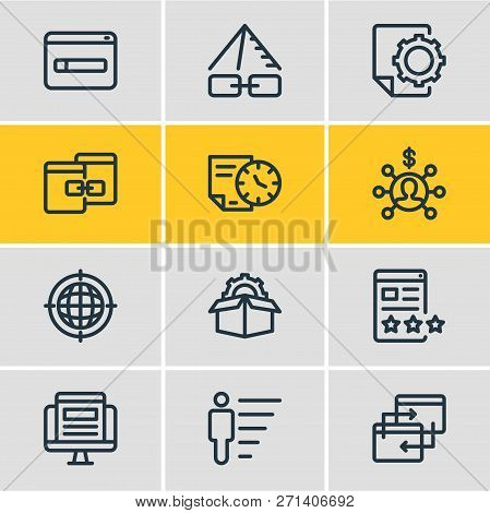 Vector Illustration Of 12 Marketing Icons Line Style. Editable Set Of Link Pyramid, Service Packages