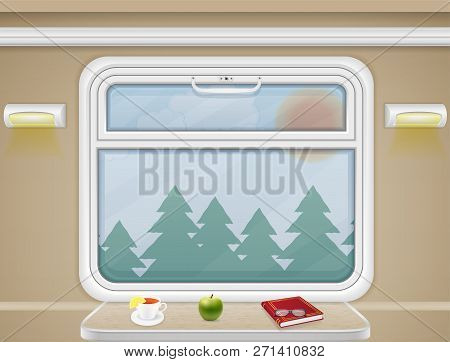 Window And Table In The Train Compartment Vector Illustration
